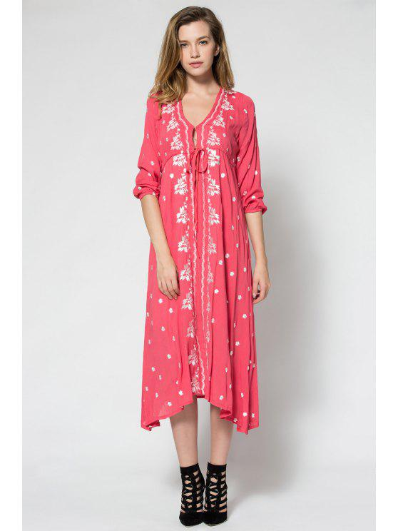 fashion Tiny Floral Embroidery Tie-Up 3/4 Sleeve Dress - WATERMELON RED S