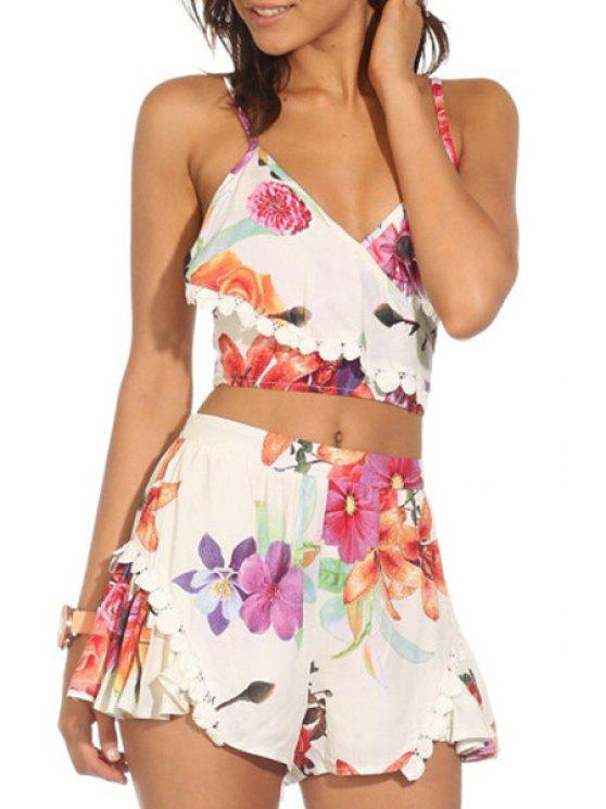 affordable Crop Top and Floral Wide Leg Shorts Suit - JACINTH M