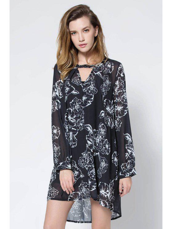 hot Floral Print V Neck Long Sleeve Blouse - BLACK S