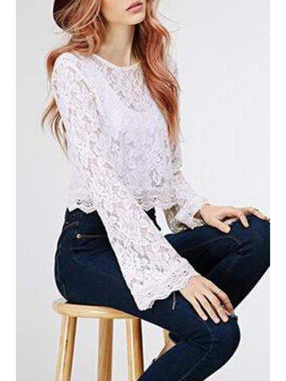outfit Bell Sleeve Crochet Flower Blouse - WHITE S