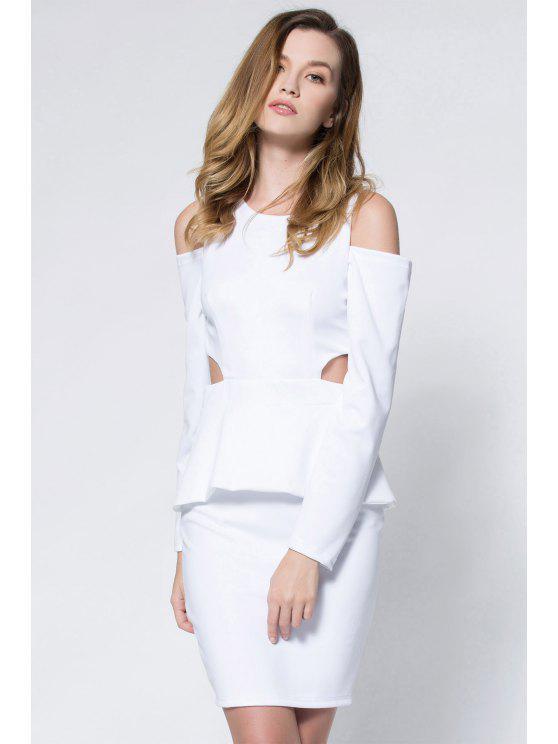 ladies Crepe Cold Shoulder Cage Back Body-Conscious Dress - WHITE S