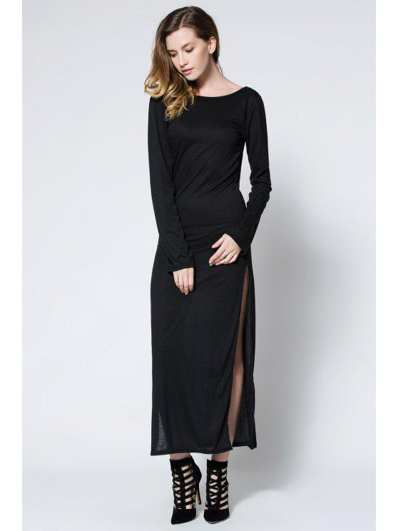 Low Back High Slit Maxi Kleid - Schwarz L