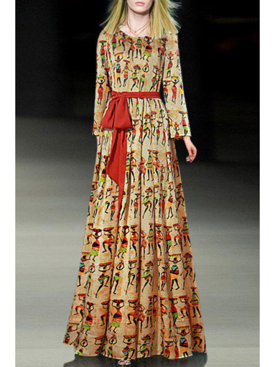 shops Tie-Up Full Figure Print Maxi Dress - YELLOW S