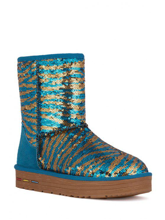 affordable Sequined Platform Color Block Snow Boots - WATER BLUE 36