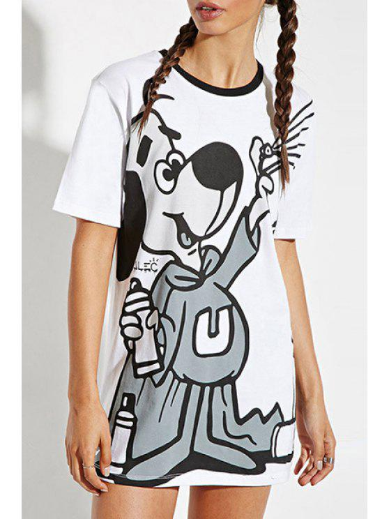 chic Cartoon Print Long Round Collar Short Sleeves T-Shirt - WHITE XS