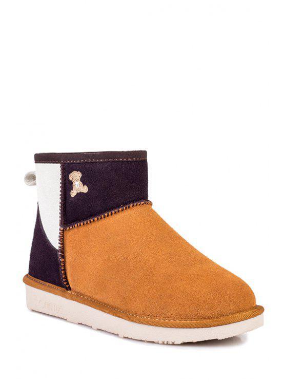 fancy Bear Pattern Suede Color Block Snow Boots - MAROON 37