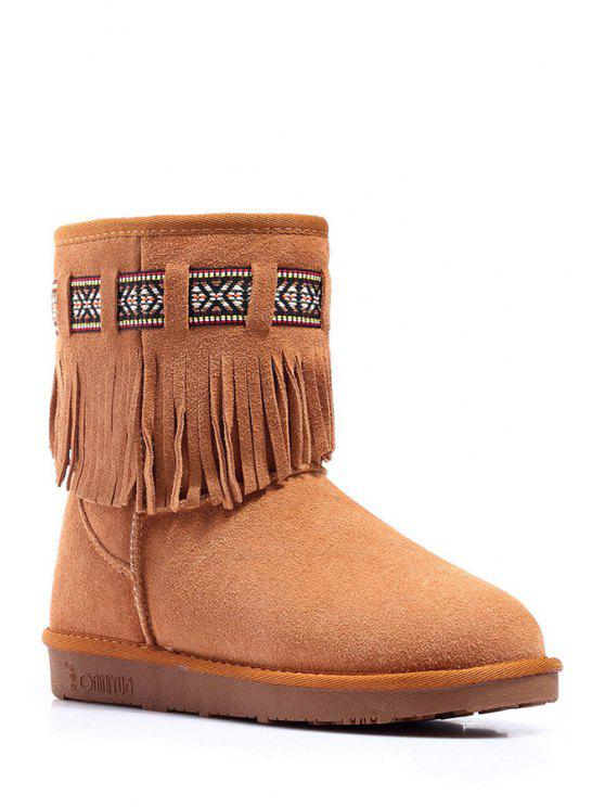 hot Fringe Suede Embroidery Snow Boots - MAROON 35