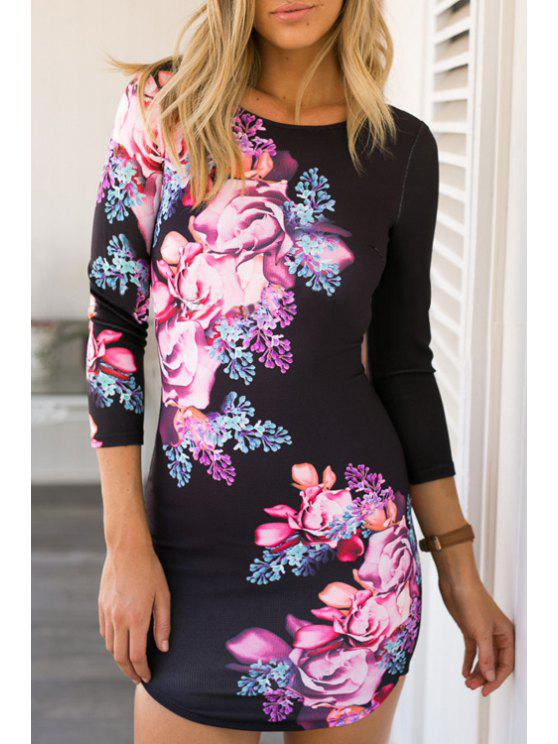 shop Crisscross Back Large Flower Bodycon Dress - BLACK S