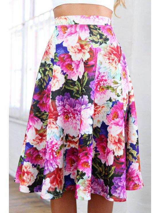 women A-Line Full Floral Midi Skirt - COLORMIX L