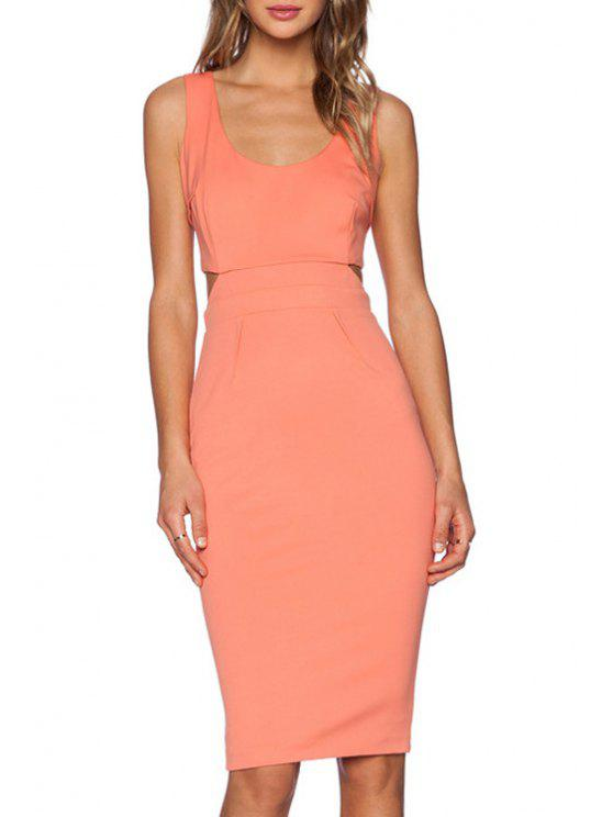new Solid Color Cut Out Zipper Scoop Neck Sleeveless Dress - PINK XS