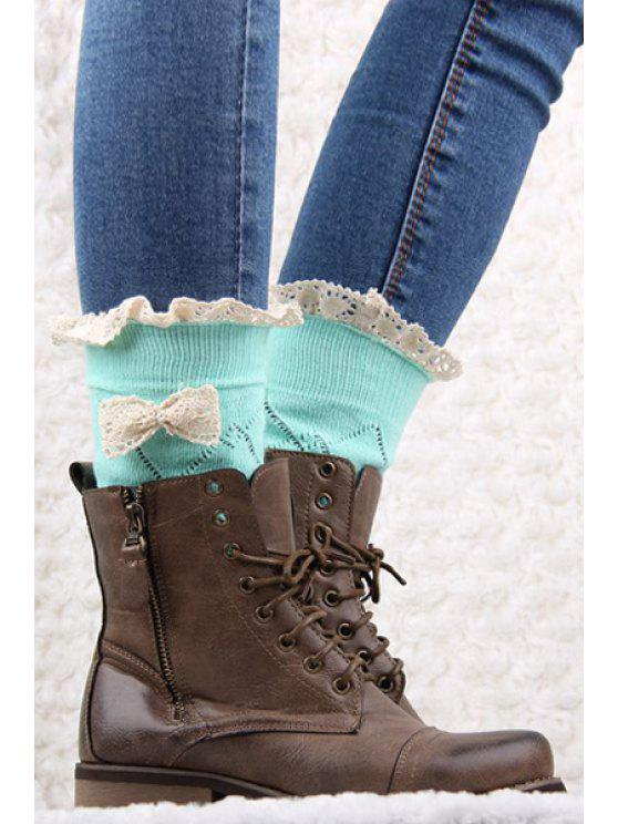 best Bow Lace Hollow Out Knitted Stockings - MINT GREEN