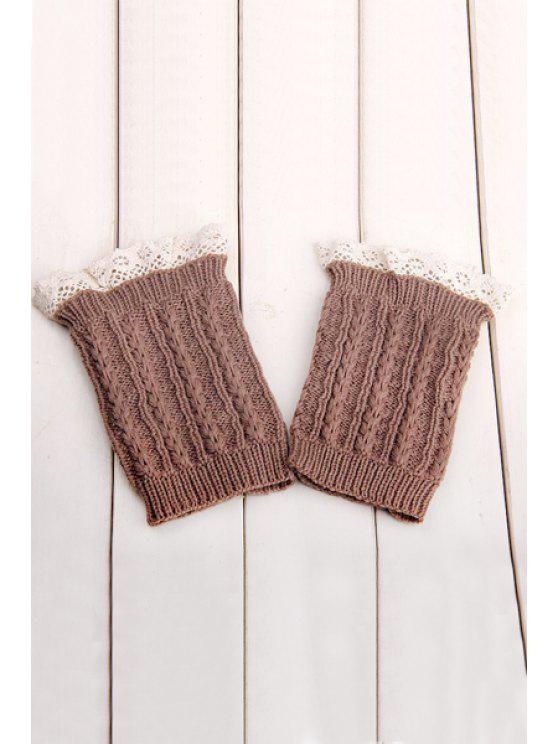 fancy Lace Herringbone Knitted Boot Cuffs - KHAKI