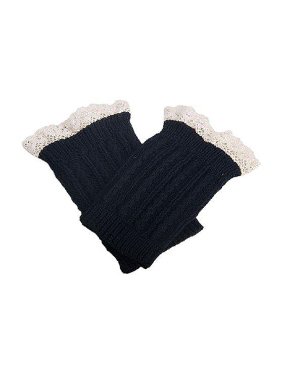 Lace Herringbone malha Bota algemas - Preto