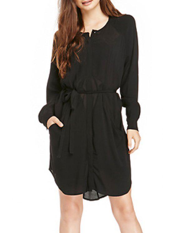 buy Black Chiffon Long Sleeve Dress - BLACK S