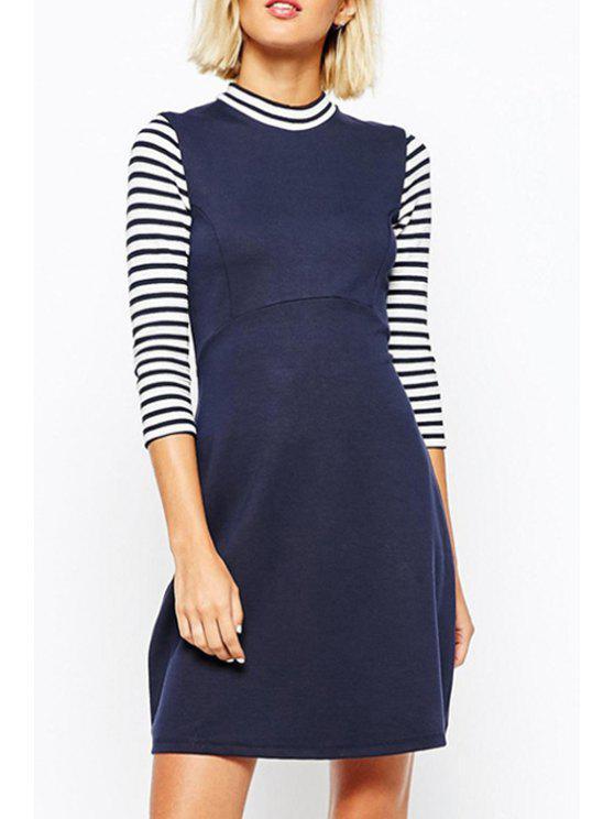 ladies Stripe Spliced Stand Neck 3/4 Sleeve Dress - NAVY BLUE XL