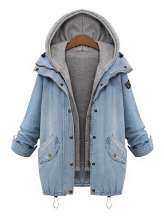 latest Hooded Drawstring Boyfriend Trends Pockets Jean Coat - LIGHT BLUE XL