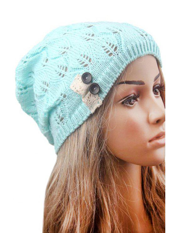 shop Button Lace Hollow Out Knitted Beanie - MINT GREEN