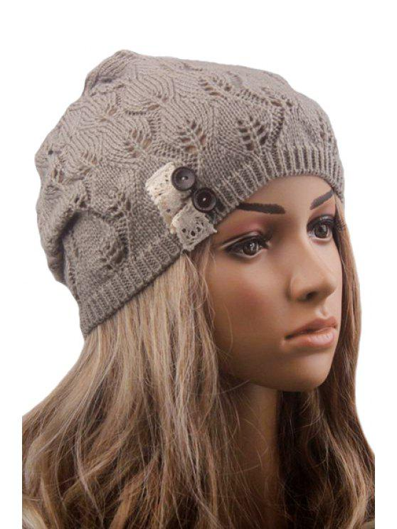 latest Button Lace Hollow Out Knitted Beanie - LIGHT GRAY
