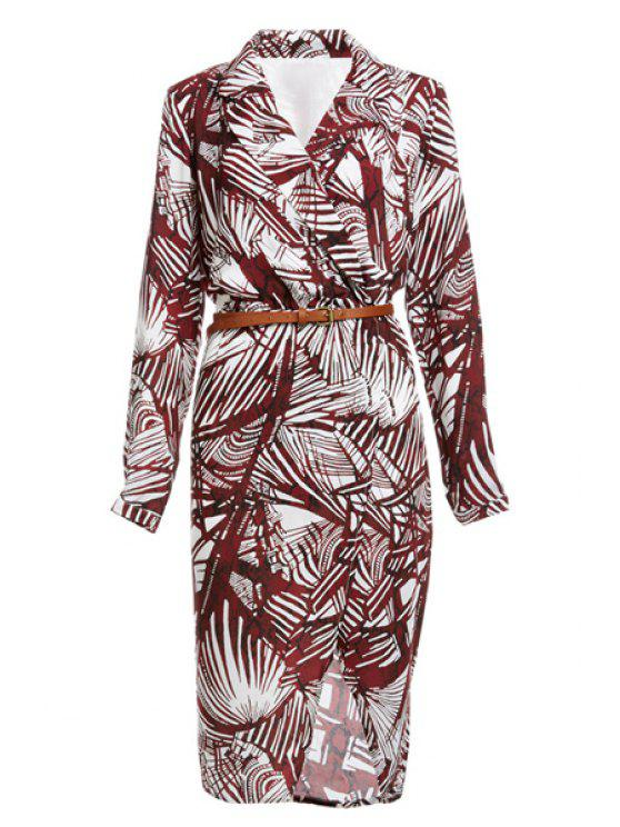 lady Tropical Print V Neck Long Sleeve Dress - DARK RED S