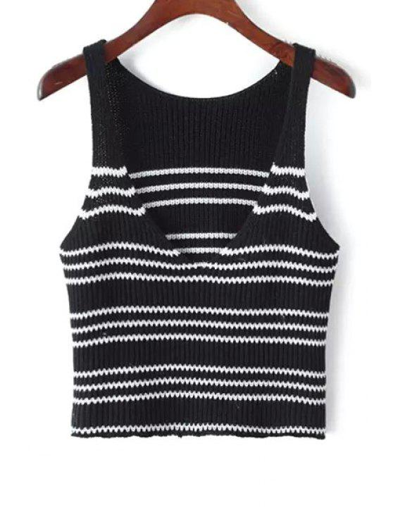 womens Striped Short Plunging Neck Sweater Tank Top - BLACK ONE SIZE(FIT SIZE XS TO M)