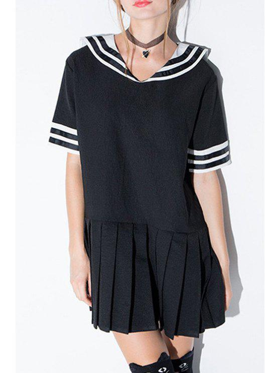 online Stripe Spliced Sailor Collar Short Sleeve Dress - BLACK M