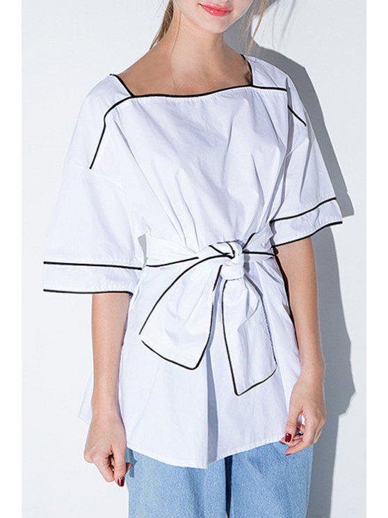 ladies Color Block Square Neck Half Sleeve Blouse - WHITE S