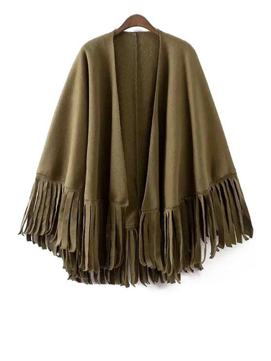fancy Solid Color Tassels Batwing Sleeves Cape Coat - ARMY GREEN ONE SIZE(FIT SIZE XS TO M)