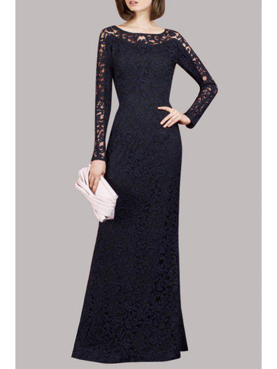 chic Openwork Lace Hook Prom Dress - BLACK M