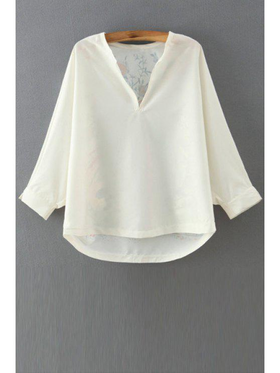 fashion Bird Print V Neck Long Sleeves Blouse - AS THE PICTURE S