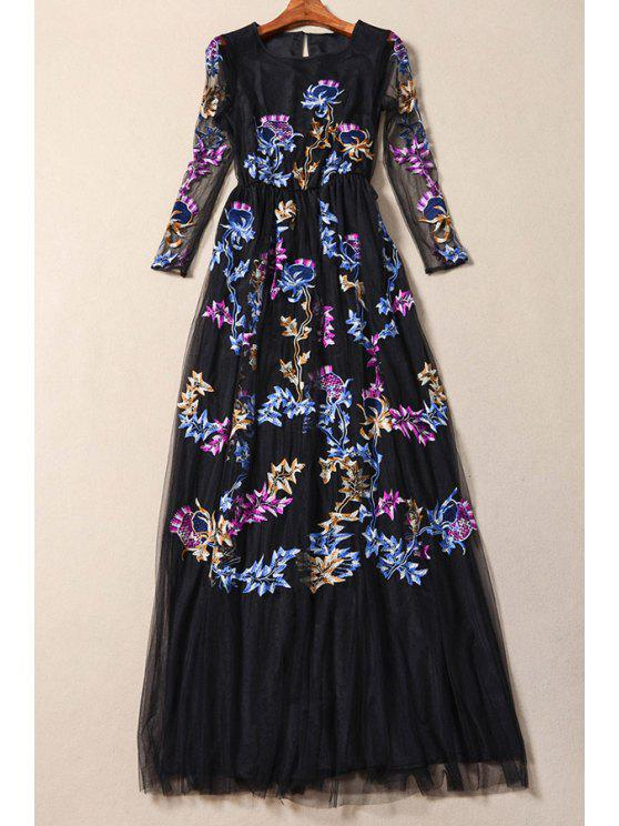 buy Embroidered Mesh Overlay Prom Dress - BLACK S