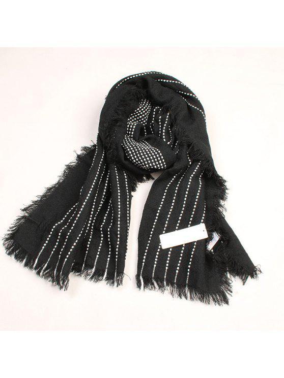 fashion Vertical Stripe Pattern Fringed Winter Scarf - BLACK