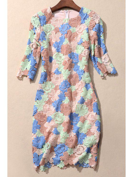 women Crochet Flower Embroidered Colorful Dress - COLORMIX S