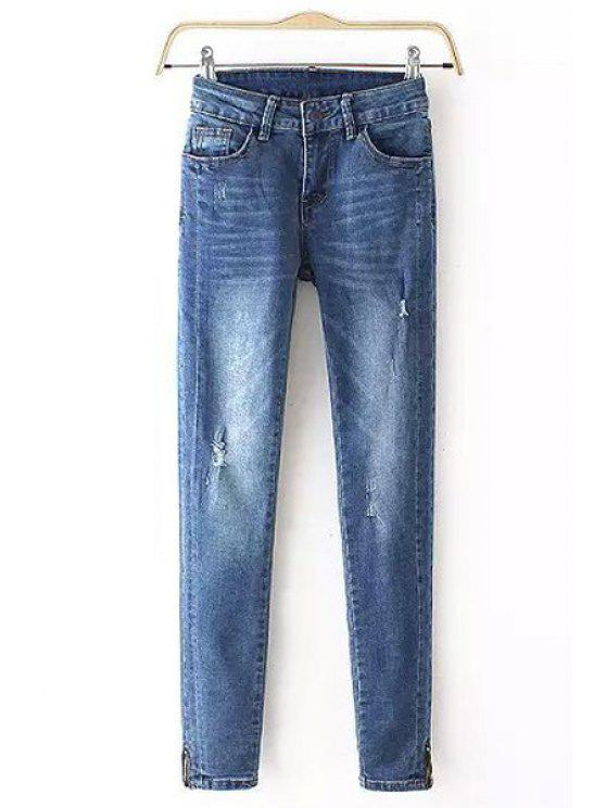 ladies Blue Skinny Frayed Jeans - AS THE PICTURE S