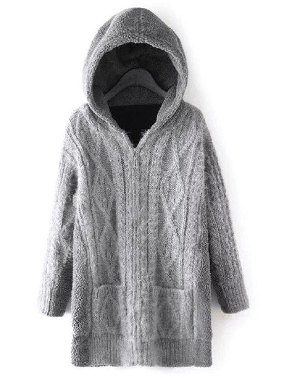 Thicken Faux Cashmere Spliced Hooded Long Sleeves Cardigan GRAY ...