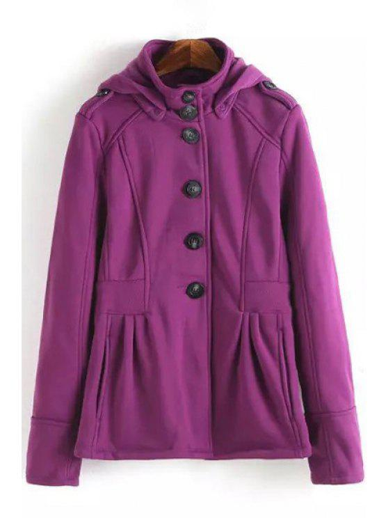 shop Pure Color Stand Neck Long Sleeves Coat - PURPLE S