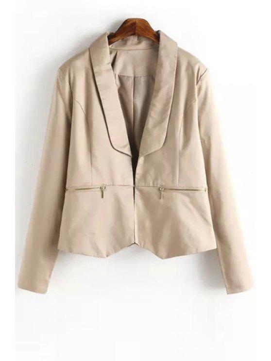 online Khaki Turn Down Collar Long Sleeve Blazer - KHAKI ONE SIZE(FIT SIZE XS TO M)
