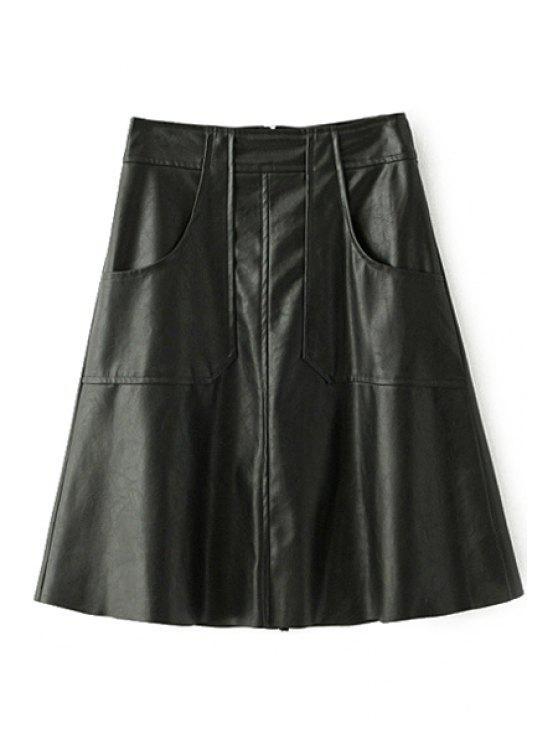 El cuero de la PU espesa toda la falda del invierno del color sólido del fósforo - Negro L