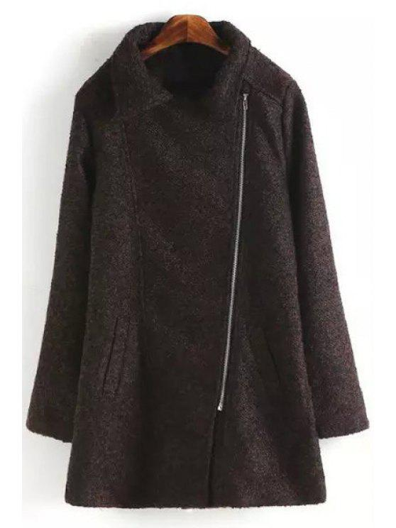 hot Turn Down Collar Faux Lamb Wool Coat - WINE RED S