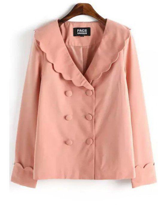 new Pink Turn Down Collar Long Sleeve Blazer - PINK L