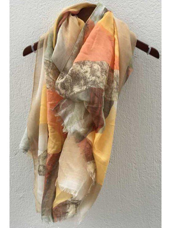 unique Triangle Pattern Fringed Gauze Scarf - AS THE PICTURE