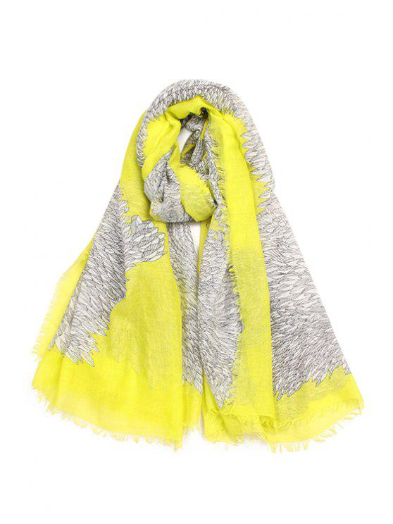 sale Feathers Pattern Fringed Gauze Scarf - YELLOW