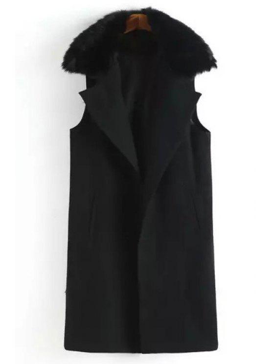 sale Faux Fur Spliced Lapel Sleeveless Waistcoat - BLACK S