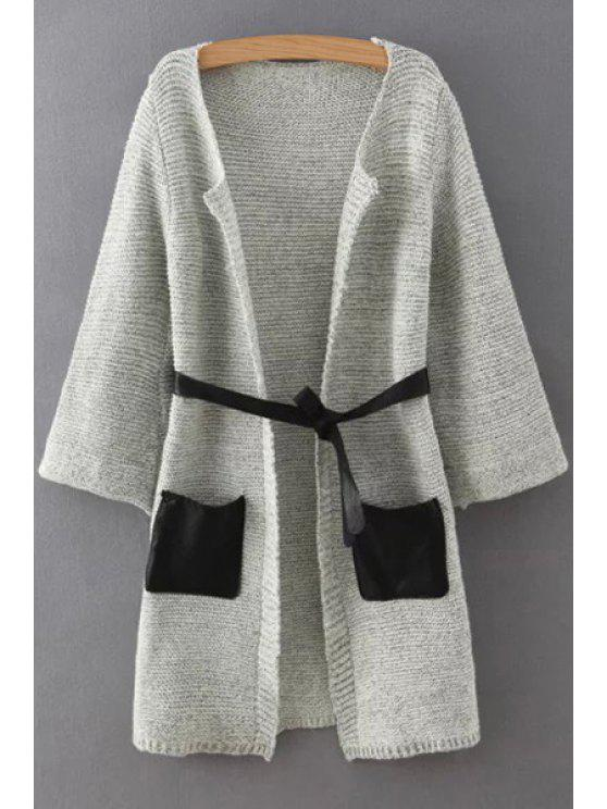trendy Pockets Patchwork Sashes Collarless Long Sleeves Cardigan - GRAY M