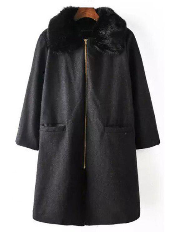 sale Faux Fur Spliced Turn Down Collar Coat - BLACK S