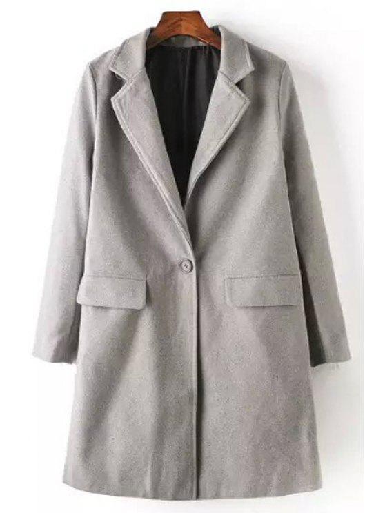 womens Gray Lapel Neck Worsted Coat - GRAY S