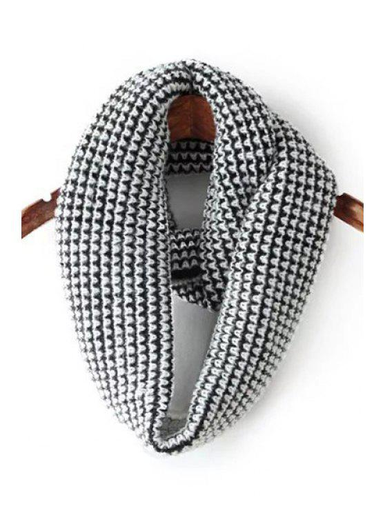 shop White and Black Knitted Neck Warmer - WHITE AND BLACK