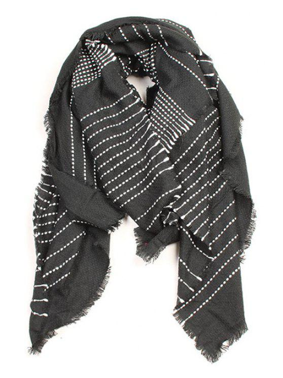 shops Stripe Pattern Fringed Edge Winter Scarf - BLACK