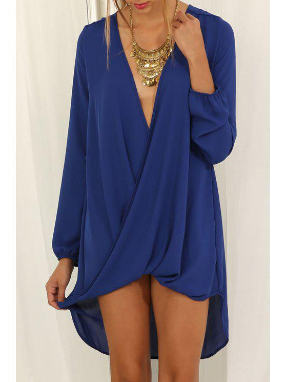 fashion Plunging Neck Front Twist Asymmetrical Dress - BLUE S