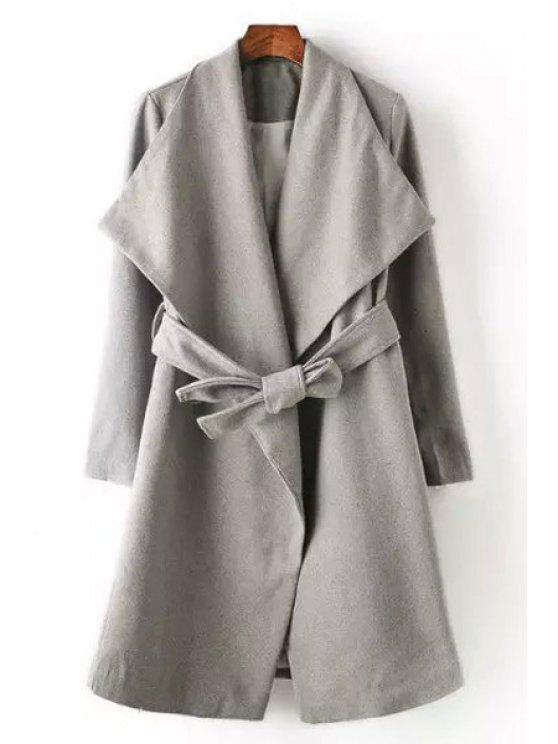 online Gray Worsted Belt Turn Down Collar Coat - GRAY S