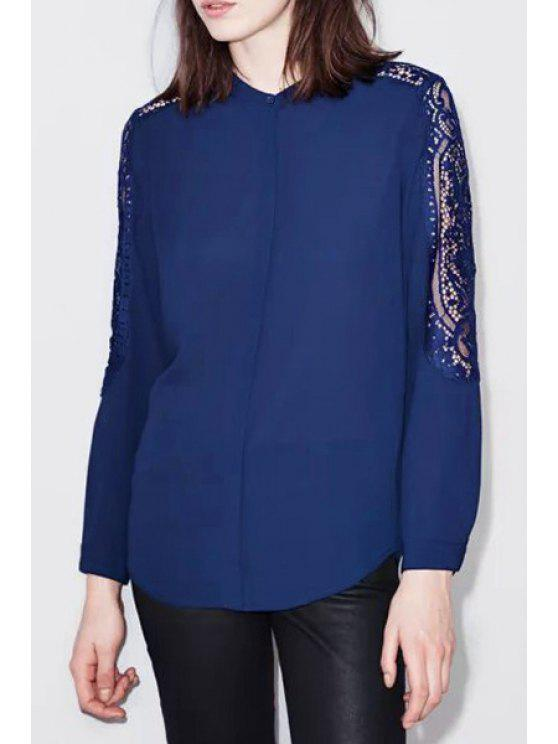 lady Openwork Lace Spliced Solid Color Chiffon Blouse - SAPPHIRE BLUE S